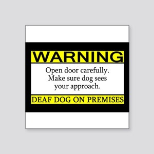 Warning Deaf Dog Rectangle Sticker