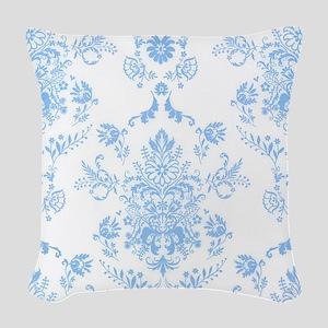 Blue Damask Horizontal Woven Throw Pillow