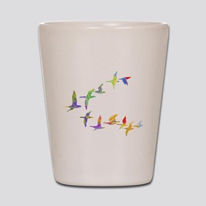 Colorful geese Shot Glass
