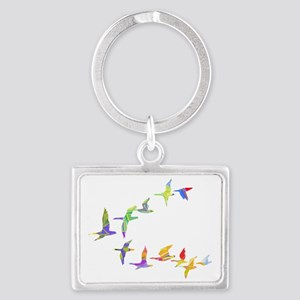 Colorful geese Landscape Keychain