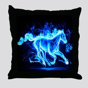 Flamed Horse Throw Pillow