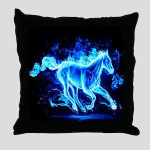 Flamed Horse Throw Pillow