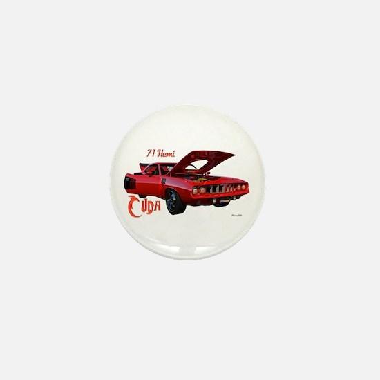 Red Hemi Cuda Mini Button