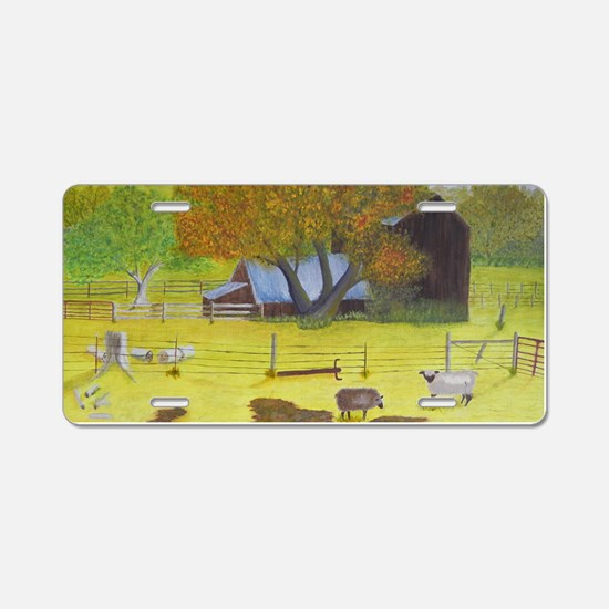Waterford Barn and Sheep Aluminum License Plate