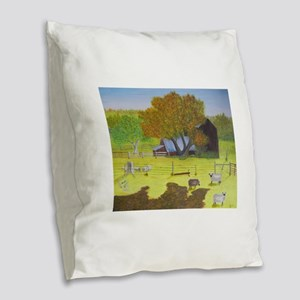 Waterford Barn and Sheep Burlap Throw Pillow