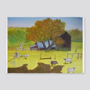 Waterford Barn and Sheep 5'x7'Area Rug