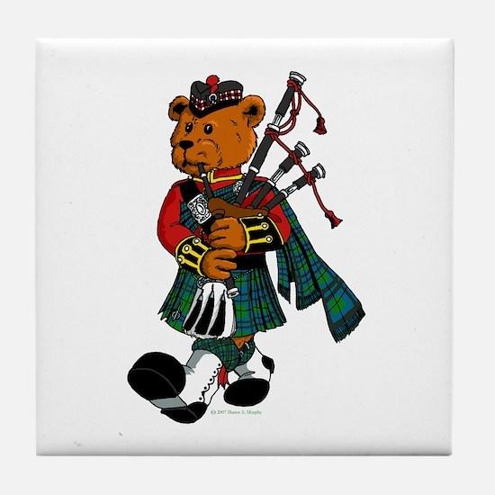 Jimmie the Scottish Piper Bear Tile Coaster