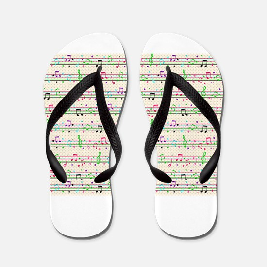 rainbow music notes Flip Flops