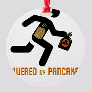 Powered by Pancakes (clear backgrou Round Ornament