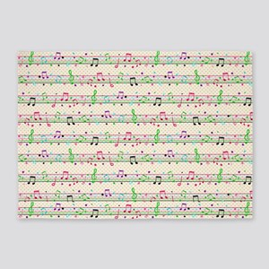 rainbow music notes 5'x7'Area Rug