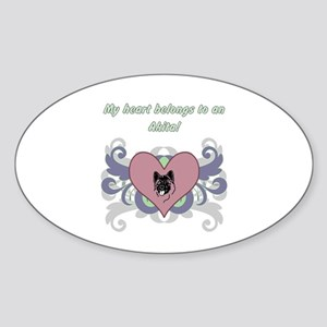 My heart belongs...Akita Sticker (Oval)