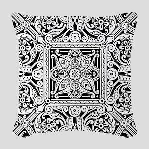 Art Deco Geo Floral Woven Throw Pillow