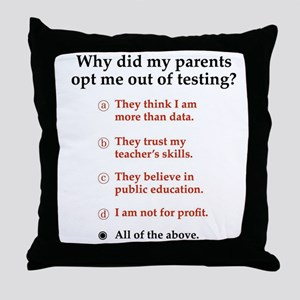 Opt out of the test Throw Pillow