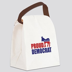 Proud Democrat Donkey Logo Canvas Lunch Bag