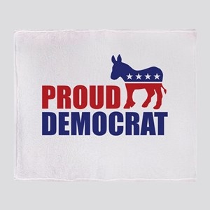Proud Democrat Donkey Logo Throw Blanket