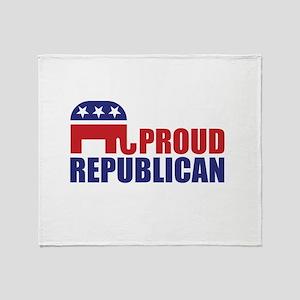 Proud Republican Elephant Logo Throw Blanket