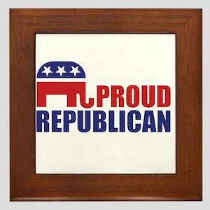 Proud Republican Elephant Logo Framed Tile