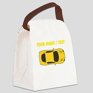 Custom Yellow Sports Car Canvas Lunch Bag
