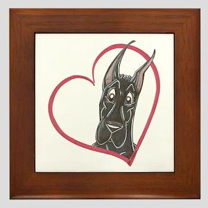 C Blk Heart Framed Tile