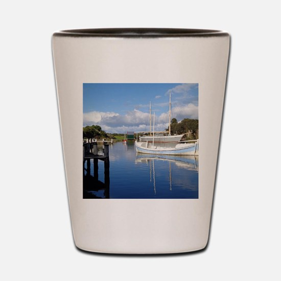 Sailboat Reflection in Water near Dock Shot Glass