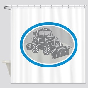 Snow Plow Truck Oval Retro Shower Curtain