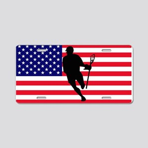 Lacrosse Flag IRock America Aluminum License Plate