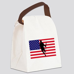 Lacrosse Flag IRock America Canvas Lunch Bag