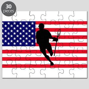 Lacrosse Flag IRock America Puzzle