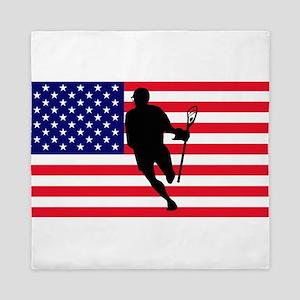 Lacrosse Flag IRock America Queen Duvet