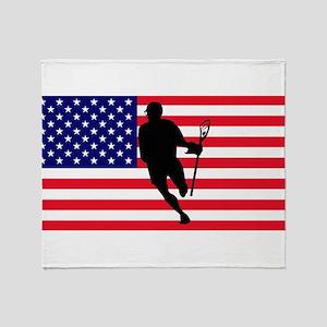 Lacrosse Flag IRock America Throw Blanket