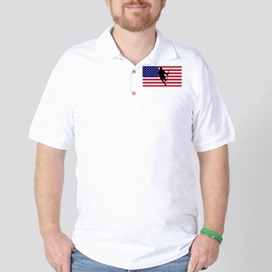 Lacrosse Flag IRock America Golf Shirt