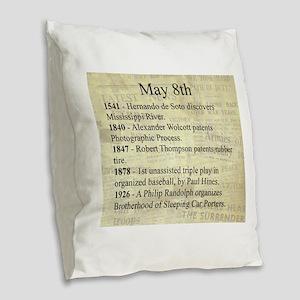 May 8th Burlap Throw Pillow