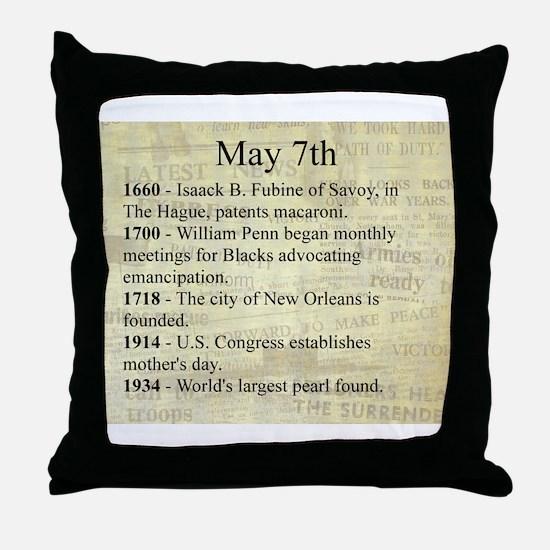 May 7th Throw Pillow