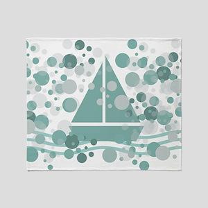 Aqua Green Sail Boat Sea Bubbles Throw Blanket