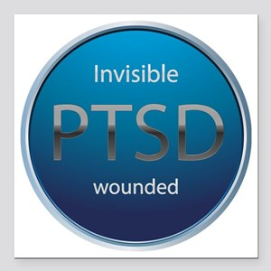 "PTSD Square Car Magnet 3"" x 3"""