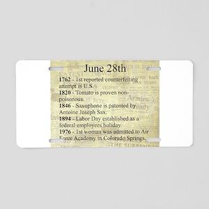 June 28th Aluminum License Plate