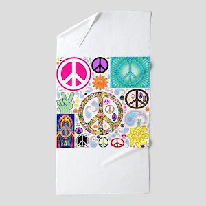 Peace Paisley Collage Beach Towel