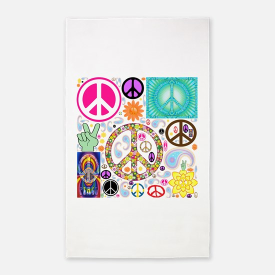 Peace Paisley Collage 3'x5' Area Rug