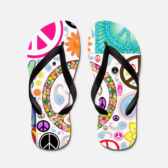 Peace Paisley Collage Flip Flops