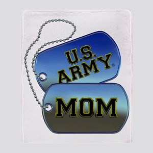 U.S. Army Mom Dog Tags Throw Blanket