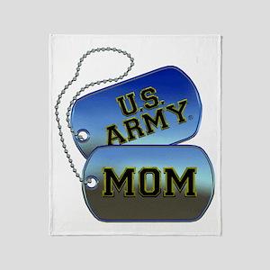 U.S. Army Mom Dog Tags Throw Blanket