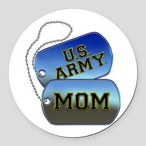 U.S. Army Mom Dog Tags Round Car Magnet