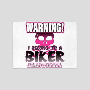 Biker Warning 5'x7'Area Rug
