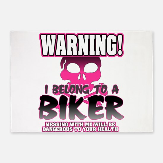 Biker Warning 5'x7'Area Rug