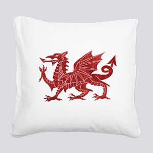 Welsh Red Dragon Square Canvas Pillow