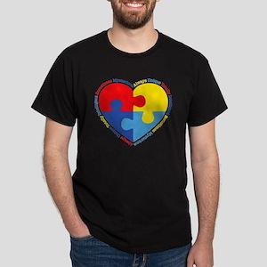 Autism Puzzle Heart Dark T-Shirt