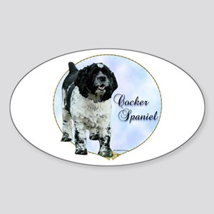 Cocker(parti) Portrait Oval Sticker