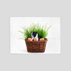 Easter Boston Terrier Dog 5'x7'Area Rug