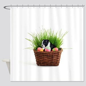 Easter Boston Terrier Dog Shower Curtain