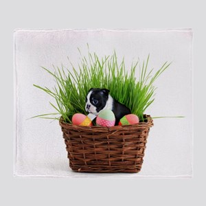 Easter Boston Terrier Dog Throw Blanket